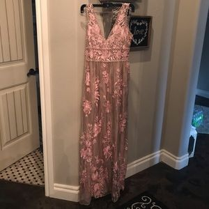 Anthropologie pink lace overlay dress